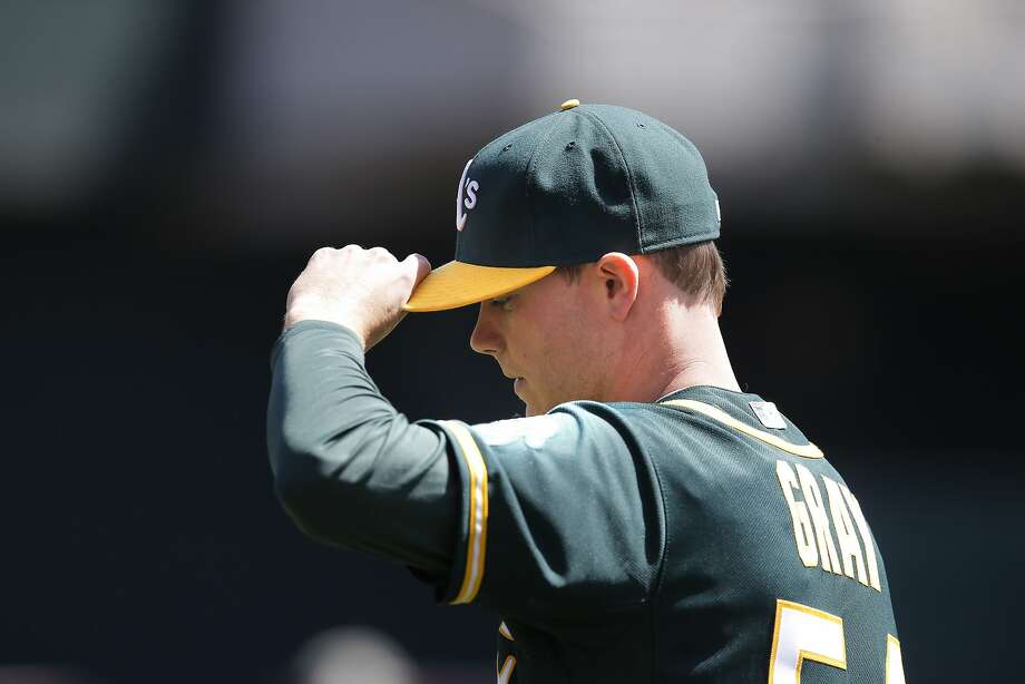 A's starting pitcher Sonny Gray, 54  gets set to throw in the 1st inning, as the Oakland Athletics take on the Seattle Mariners at O.co Coliseum in Oakland, Calif. on Saturday April 11, 2015. Photo: Michael Macor, The Chronicle