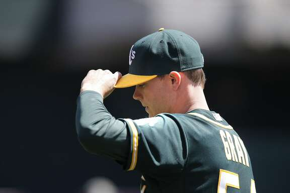 A's starting pitcher Sonny Gray, 54  gets set to throw in the 1st inning, as the Oakland Athletics take on the Seattle Mariners at O.co Coliseum in Oakland, Calif. on Saturday April 11, 2015.
