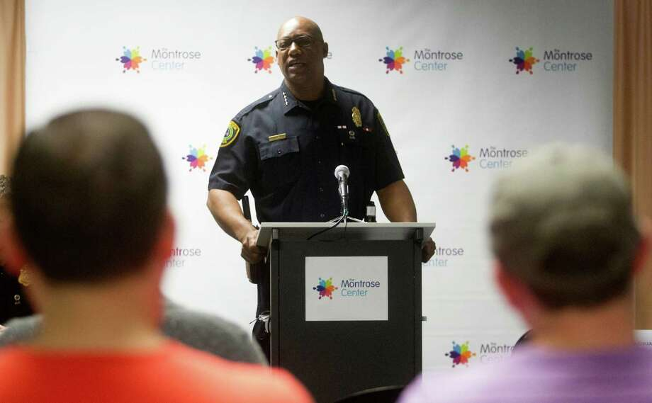 Houston Police Department Chief of Police  Charles McClelland speaks during a community meeting at the Montrose Center on Saturday, April 11, 2015, in Houston. ( J. Patric Schneider / For the Chronicle ) Photo: J. Patric Schneider, Freelance / © 2015 Houston Chronicle