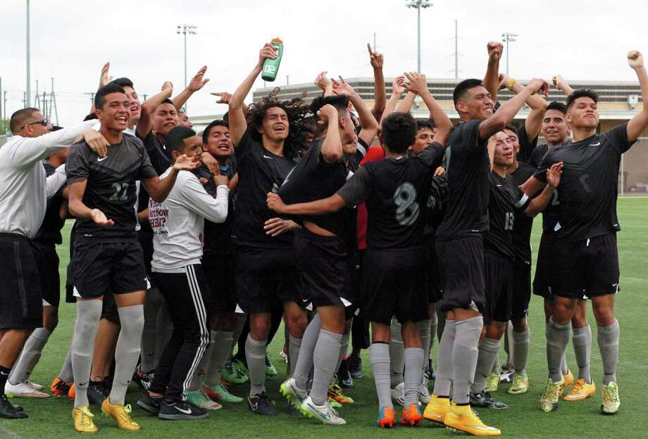 Rivera Raiders leap with joy after defeating San Antonio Louis D. Brandeis Broncos Saturday afternoon winning the U.I.L. Region IV-6A Regional Soccer Tournament at the Brownsville Sports Park advancing the Raiders to state.