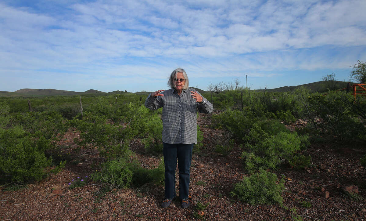 That's the stance taken by former Brewster County Judge Val Beard, who's shown on her property at the Leoncita Ranch near Alpine. The proposed Trans-Pecos Pipeline might pass through the area.