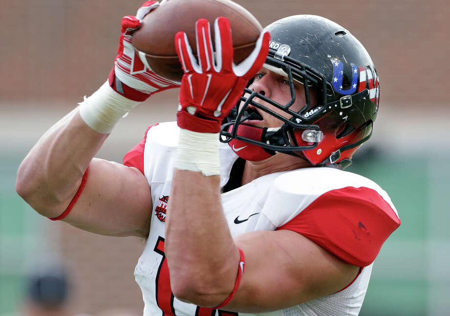 Tight end Cole Wick's size (6-foot-6, 255 pounds), skills and leadership ability could make him Incarnate Word's first NFL player. Photo: Tom Reel /San Antonio Express-News