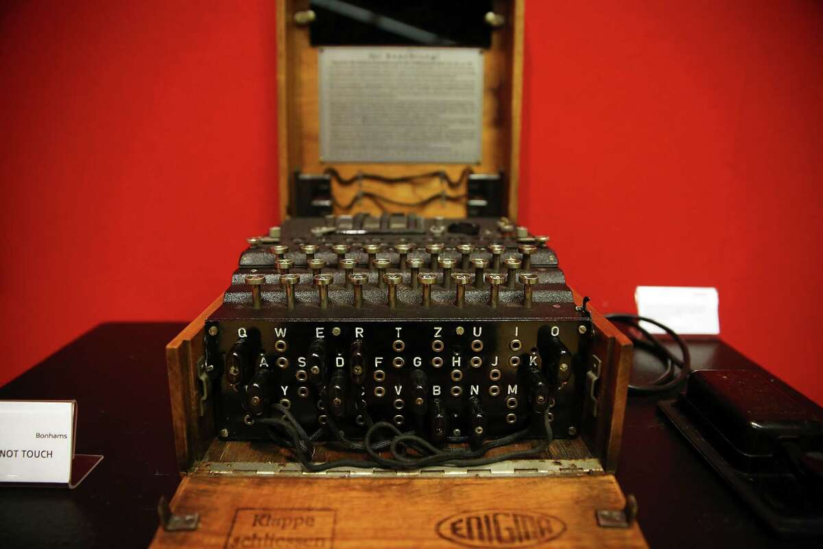 A working Enigma cipher machine that along with the 1942 56-page notebook belonging to codebreaker Alan Turing is to be auctioned Bonham's auction house on April 9, 2015 in New York City. The notebook is to be auctioned in New York on Monday. The notebook alone is expected to go for $1 million. Turing's life and work were recently brought to life in the 2014 blockbuster