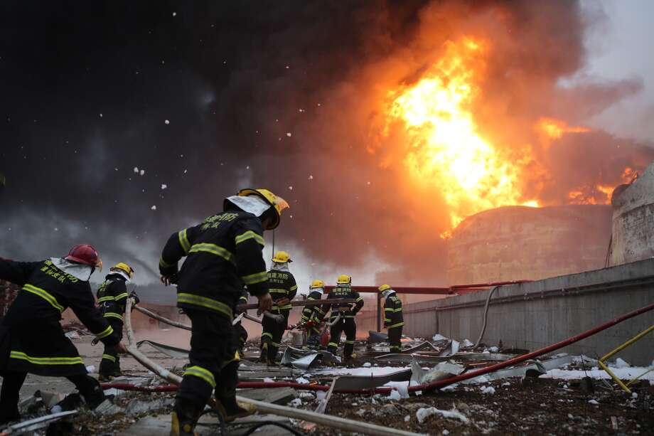 Firefighters battle a fire at the explosion site of PX chemical plant on April 7, 2015 in Zhangzhou, China. Explosion hit Zhangzhou PX chemical plant at 18:58 on April 6 due to oil leaking with no casualty found. Photo: ChinaFotoPress, Getty Images / 2015 Getty Images
