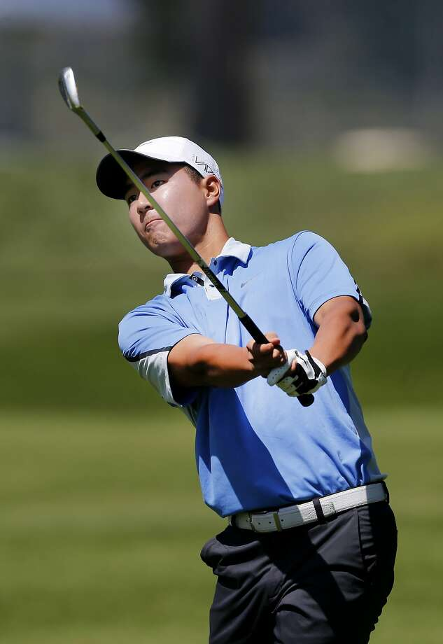 Justin Suh watched his fairway drive at Harding on the first hole. The finals for the annual San Francisco City Championship were held at Harding Park Sunday April 12, 2015. Photo: Brant Ward, The Chronicle