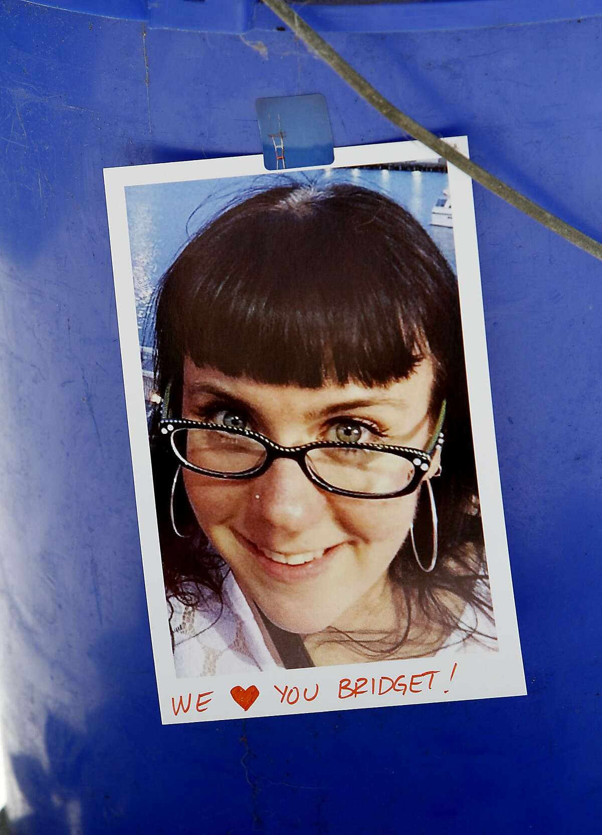 A photo of Bridget Klecker, who was hit and killed by fleeing armed robbers Friday night, at her memorial in San Francisco, Calif., on Sunday, April 12, 2015.