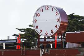 A clock is seen on the toll plaza at the south end of the Golden Gate Bridge on Sunday, April 12, 2015.