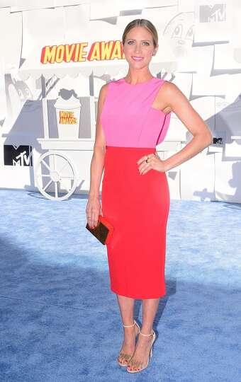 Actress brittany snow poses on arrival for the 2015 mtv movie photo
