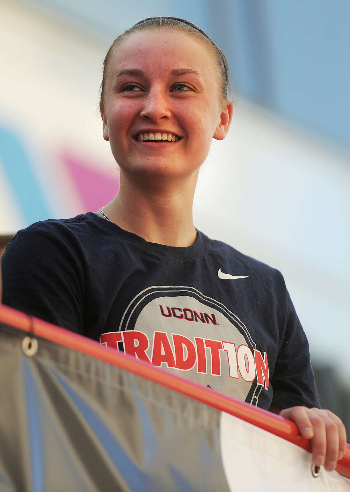 UConn player Tierney Lawlor at the victory parade and rally honoring the 2015 UCONN women's basketball championship team in downtown Hartford, Conn. on Sunday, April 12, 2015.