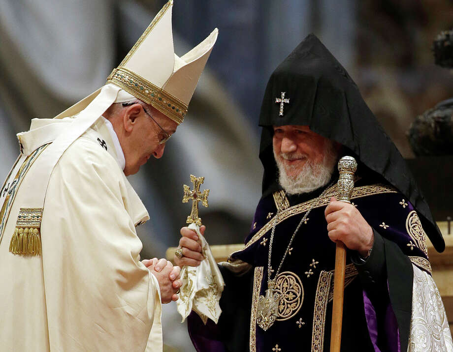 "Pope Francis, shown with Catholicos Karekin II, the Armenian Apostolic Church's supreme patriarch, said He quoted from a 2001 declaration by Pope John Paul II and Catholicos Karekin II, the Armenian Apostolic Church's supreme patriarch, in which the two called the Armenian slaughter a campaign of extermination that was ""generally referred to as the first genocide of the 20th century."" , in which the two called the Armenian slaughter a campaign of extermination that was ""generally referred to as the first genocide of the 20th century."" Photo: Gregorio Borgia /Associated Press / AP"
