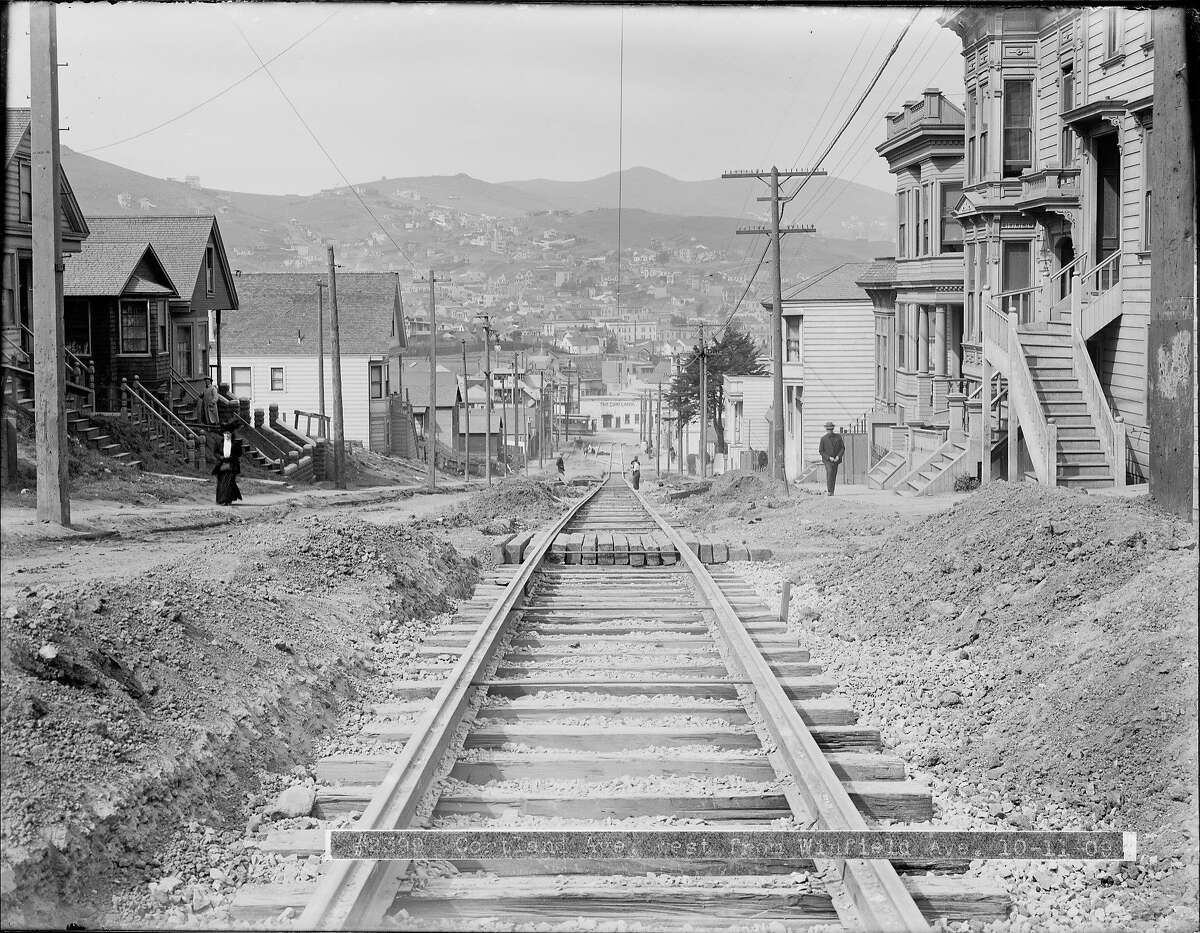 Cortland Avenue looking west to Mission Street where street car tracks are being laid. Streetcar Track Construction on Cortland Avenue West from Winfield Street | October 11, 1909
