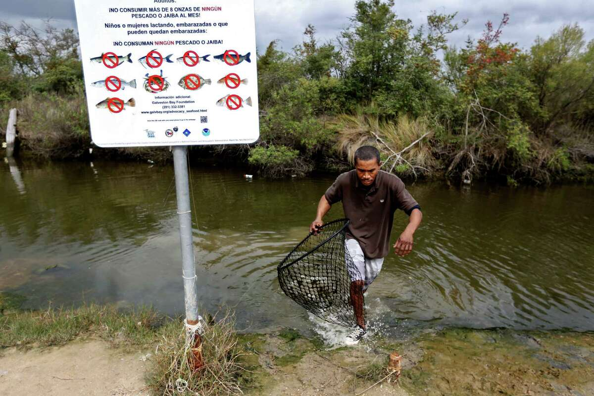 John Fuller of Houston ignores a sign that warns against eating fish from the area while crabbing recently along the East Freeway Service Road just west of the San Jacinto River Waste Pits.