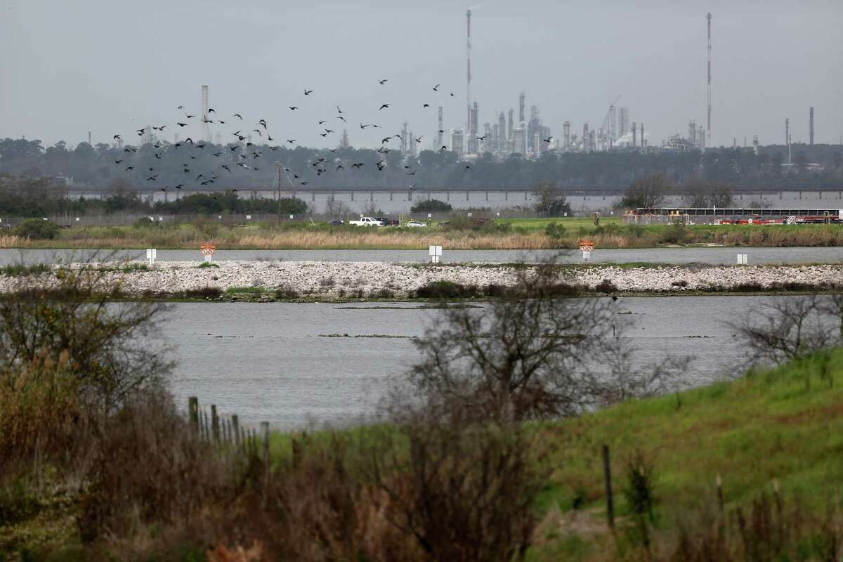 San Jacinto River Waste Pits between Highlands and Channelview are a set of ponds approximately 14 acres in size built in the mid-1960s for disposal of paper mill wastes.
