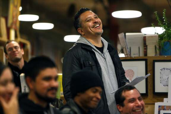 Paul S. Flores during a spoken word performance at Alley Cat Books in San Francisco, Calif. on Thursday, January 8, 2015.