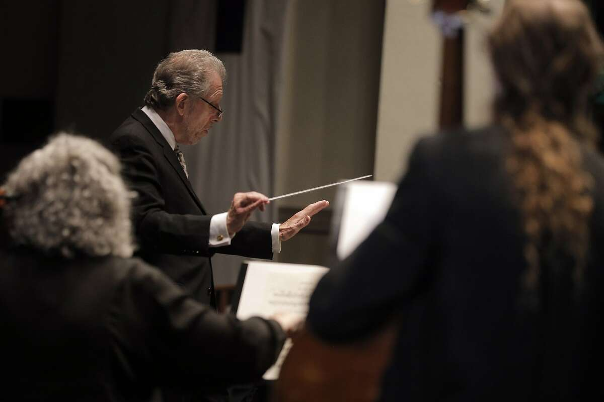 Conductor David Ramadanoff during the final performance of the 2014-2015 season for the Vallejo Symphony Orchestra at Lander Hall on Mare Island in Vallejo, Calif., on Sunday, April 12, 2015. Vallejo Symphony is replacing its longtime conductor David Ramadanoff after 31 years as music director.