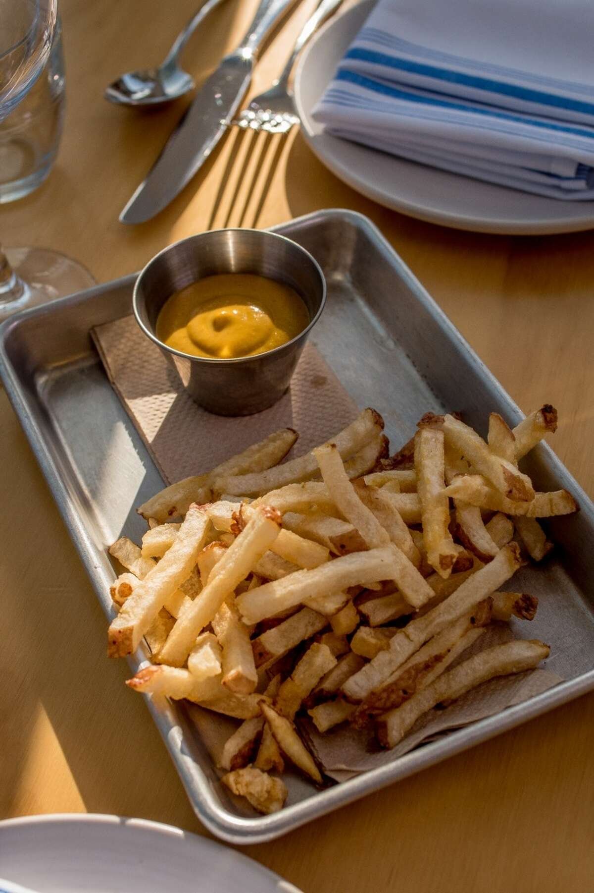 The French Fries with smoked Apple sauce at Al's Place in San Francisco, Calif., are seen on Thursday, April 2nd, 2015.