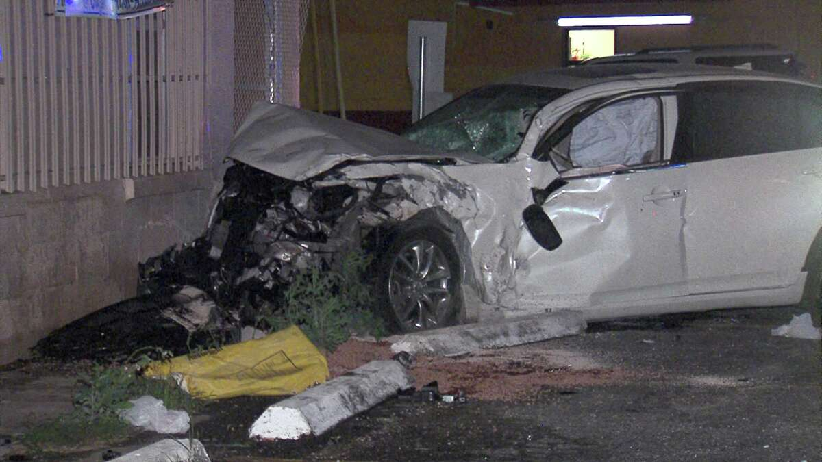 A collision on the North Side Sunday night caused a car to barrel into a building.