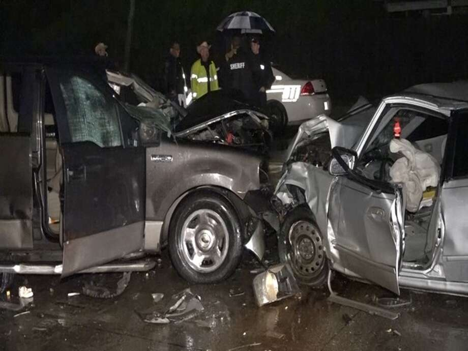 One person was killed and nine others injured Saturday, April 11, 2015 in north Harris County when an alleged drunk driver heading the wrong direction on a one-way street hit a truck with seven passengers. Photo: Montgomery County Police Reporter