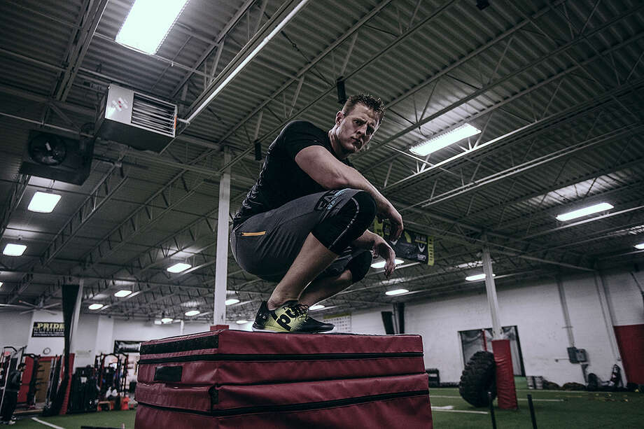 Houston Texans star J.J. Watt announced that he has signed with shoe company Reebok in the most J.J. way possible. On Monday morning Watt posted a video of him making a 61-inch box jump, besting the jump he attempted earlier this year. Watt's video announced his new partnership with the Reebok brand. The jump is also Watt's personal record for a box jump. Photo: Reebok