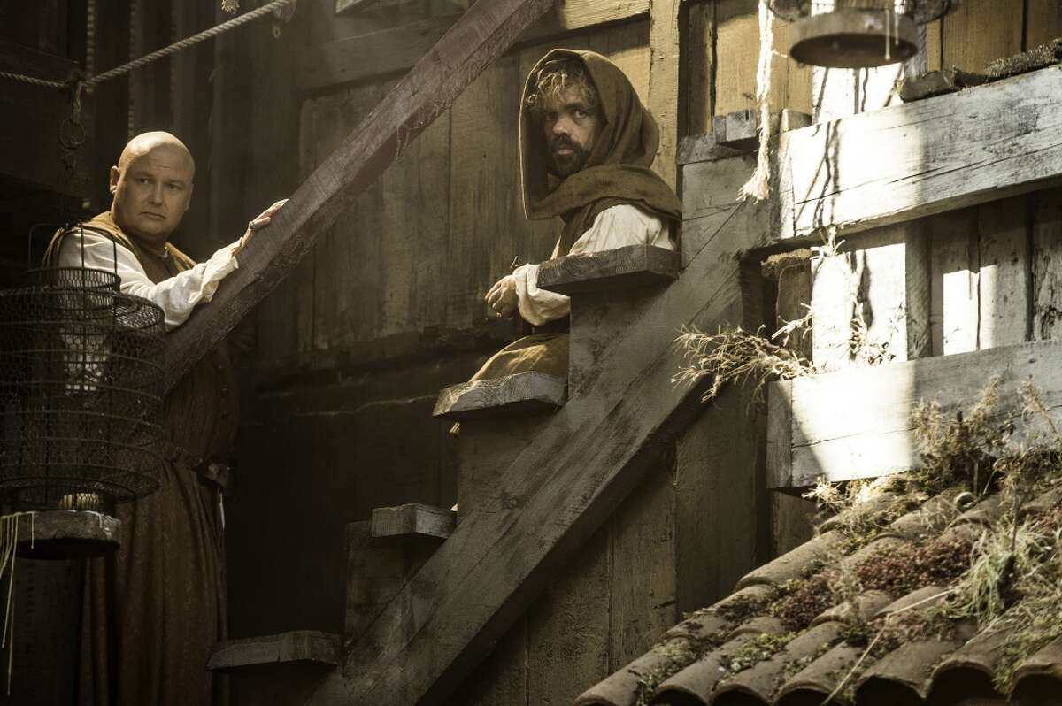 GAME OF THRONES (season 5): Conleth Hill, Peter Dinklage. photo: Helen Sloan/courtesy of HBO