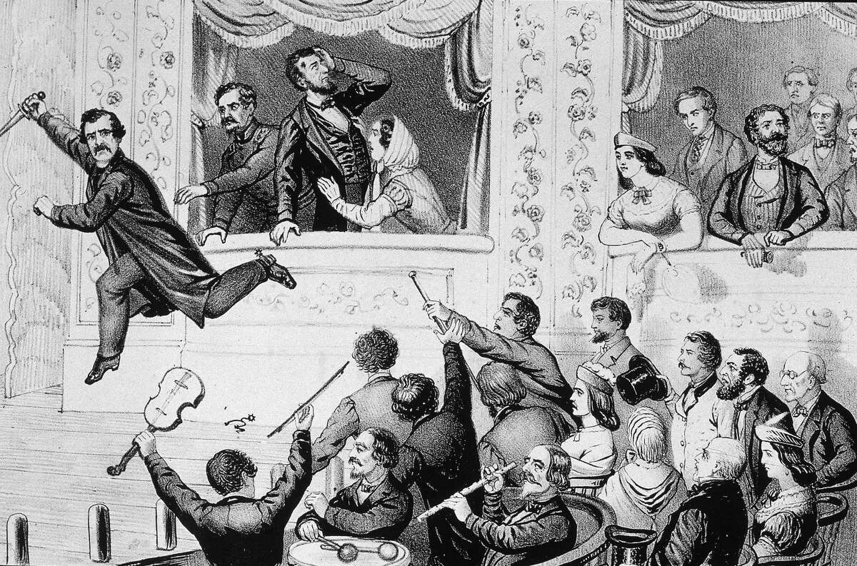 Illustration of assassin John Wilkes Booth jumping to the stage after shooting Abraham Lincoln at Ford's Theater, Washington D.C., April 14, 1865.