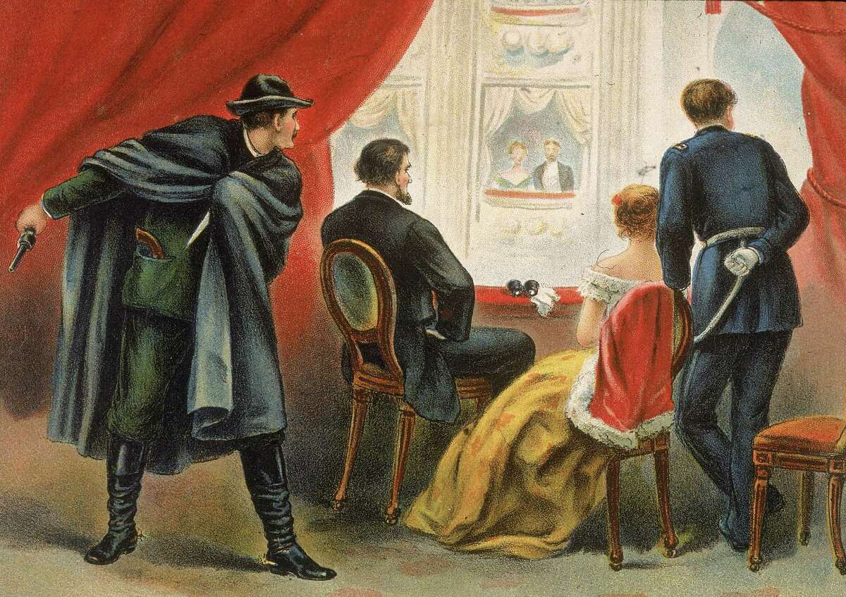 Illustration depicting John Wilkes Booth preparing to assassinate president Abraham Lincoln in the balcony of Ford's Theater, Washington D.C., April 14, 1865.