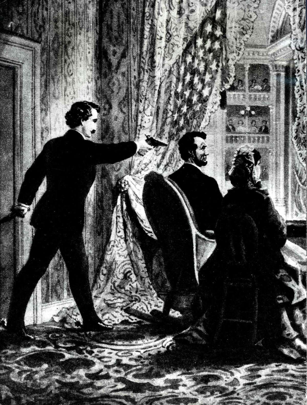 1865, An illustration, showing the assassination of US President Abraham Lincoln, (1809-1865) by John Wilkes Booth at Ford's Theater