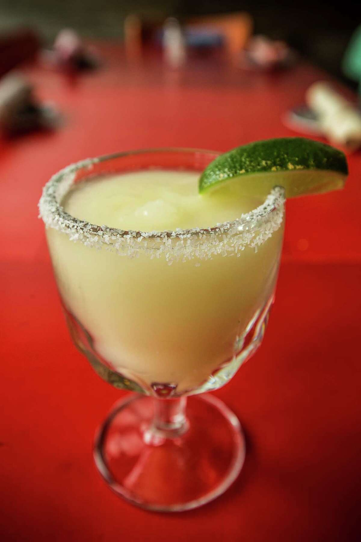 A frozen margarita is shown at The El Cantina Superior on Friday, April 3, 2015, in Houston. ( Brett Coomer / Houston Chronicle )