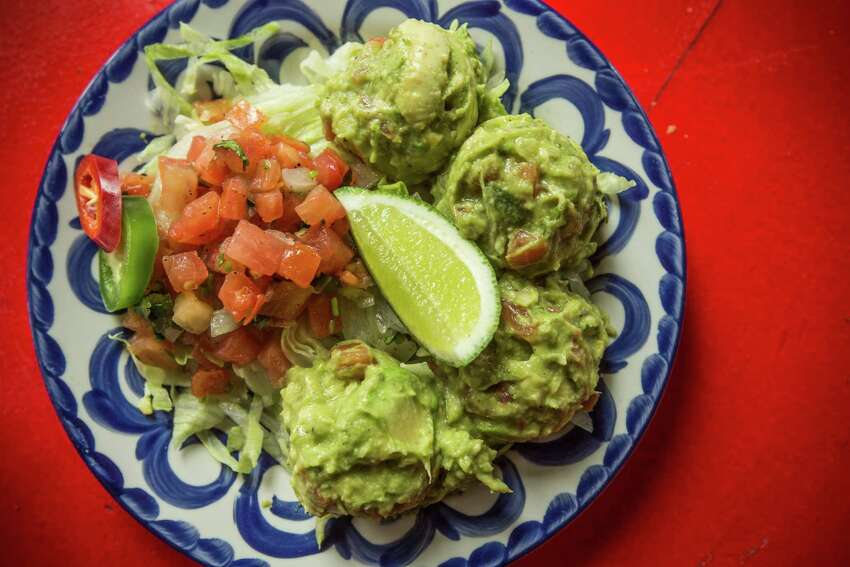 A plate of smashed avocados is shown at The El Cantina Superior.