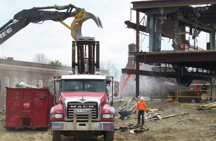 Demoliton of the Westport Weston Family Yís former Weeks Pavilion complex has begun.The demoliton is part of the Bedford Square multi-use development. Photo: Anne M. Amato / westport news