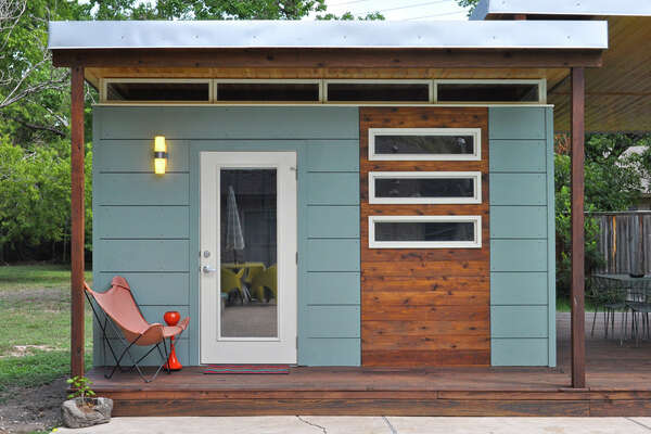 """Double 14x14 """"Modern Studios"""" with connecting porch"""