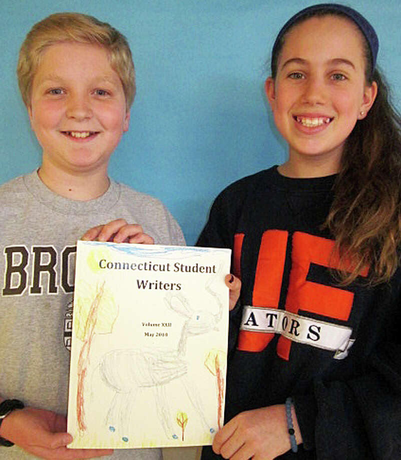 These Coleytown Middle School seventh-graders, Charles Effman and Samantha Gefen, were among the three Westport students cited in this year's Connecticut Student Writers contest. Not pictured is Julian Garrison, a Staples High School senior. Photo: Contributed Photo / Westport News