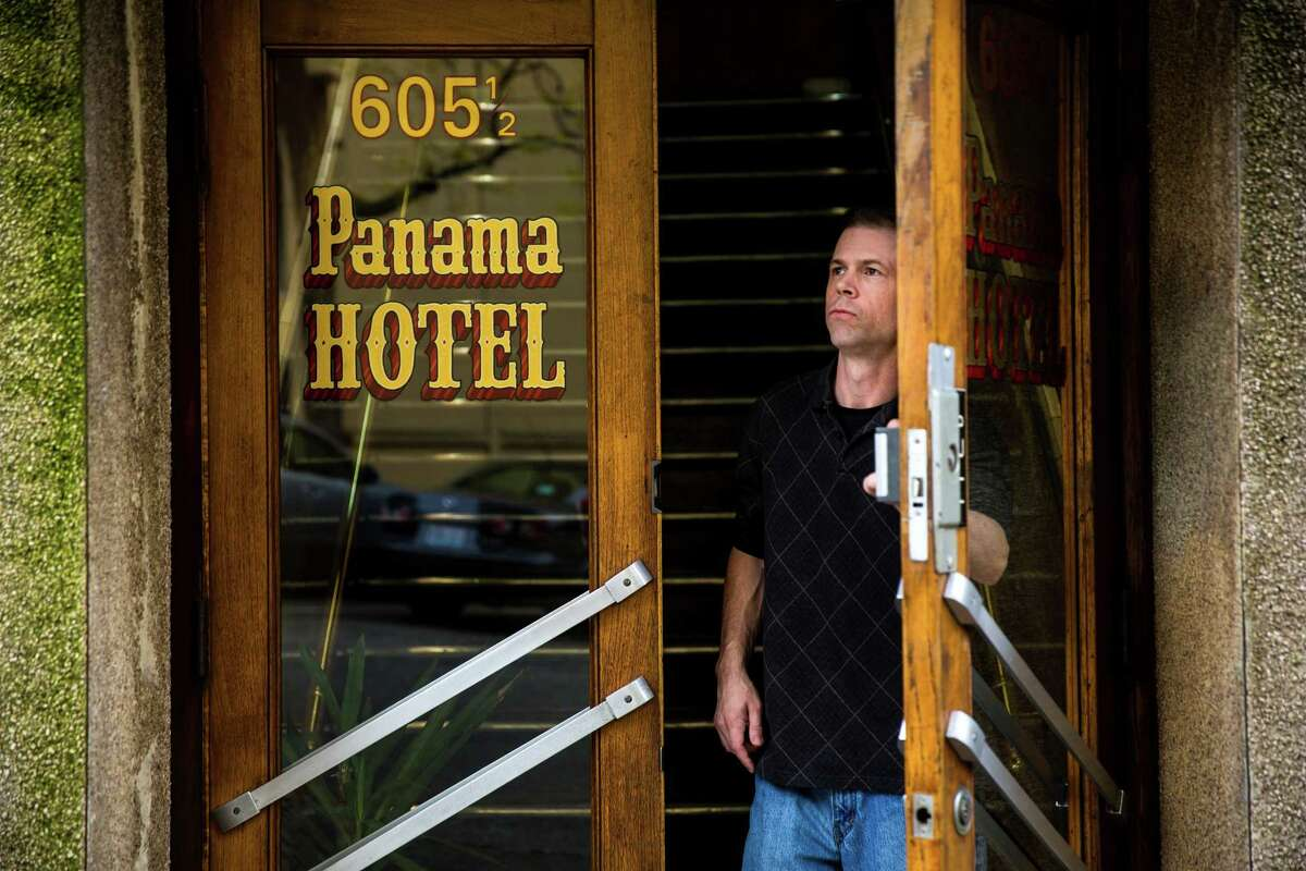Exterior angles of the Panama Hotel, photographed Monday, April 13, 2015, in Seattle, Washington. The 104-year-old hotel was named a