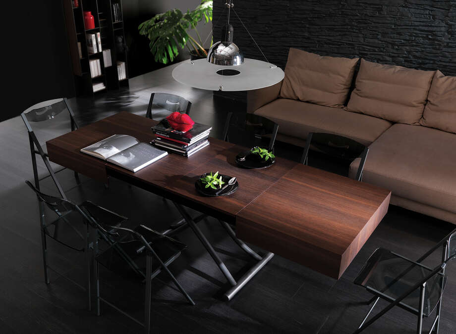 The Cristallo transforming coffee table, also available in pine and glass, from Resource Furniture in San Francisco. Photo: Resource Furniture / ONLINE_YES