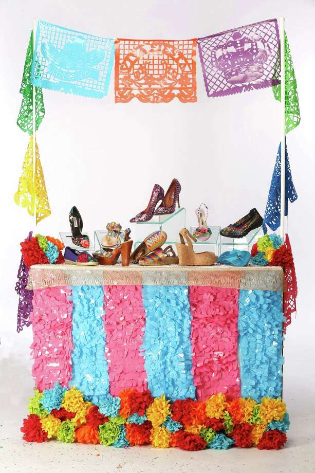 Shoes for the 11 days of Fiesta. They include: Front row, from left: Maka espadrille, $91, Nativa; Gianni Bini platform sandal, $79.99, Dillard's North Star Mall; Sam Edelman beaded flat, $195, Julian Gold; Toni Pons metallic espadrille, $125, Julian Gold; Elaine Turner cork wedge, $268, Elaine Turner Boutique; Elaine Turner jelly flip flop, $58, Elaine Turner Boutique. Back row, from left: Steve Madden rose print pump, $89.99, Dillard's; Mystique blinged sandal, $200, Julian Gold; Steve Madden purple bling heels, $129.99, Dillard's; Sophia Webster floral heel, $595, Julian Gold; Sketchers sneaker, $54.99, Dillard's. Photo: William Luther /San Antonio Express-News / © 2015 San Antonio Express-News