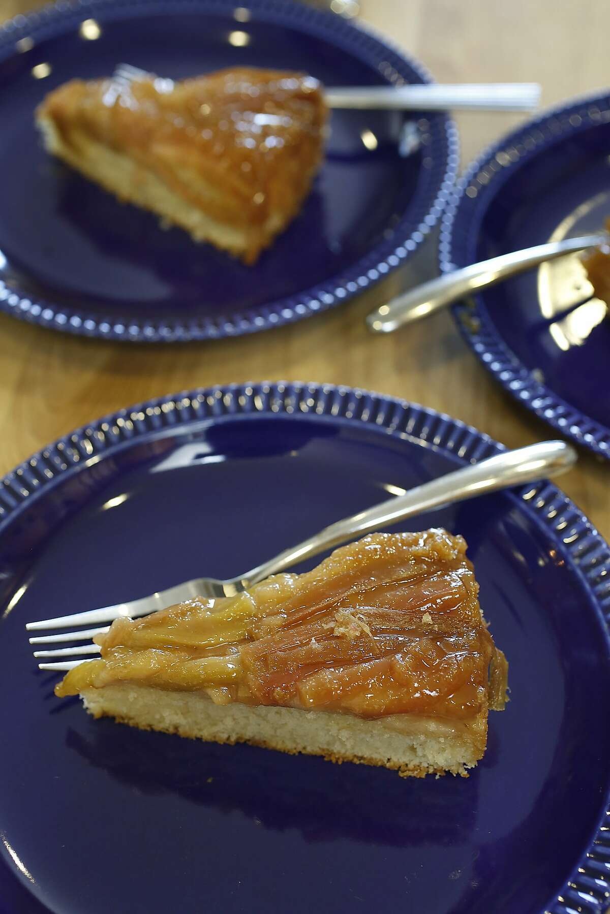 Chef/owner Stacie Pierce of Little Bee Baking made a rhubarb upside-down cake in her home kitchen in San Francisco, California, on Monday, April 13, 2015.
