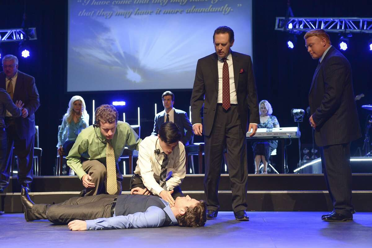 """Jon Fletcher as Joshua Jr (center, on ground) and Victor Slezak as Joshua Sr (right center)in """"The Messengers,"""" premiering on April 17 on the CW."""