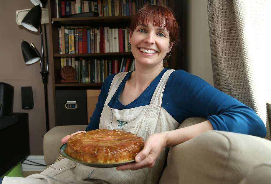 Stacie Pierce, owner-chef of Little Bee Baking in Bernal Heights, with her just-made upside-down rhubarb pie. Photo: Liz Hafalia, The Chronicle
