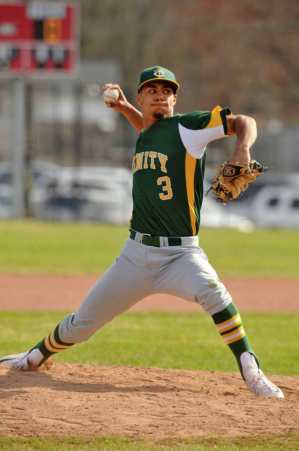 Randy Polonia was the starting pitcher for Trinity Catholic going the full seven innings for a 6-0 shutout at Stamford High School in Stamford, Conn., on Monday, April 13, 2015.