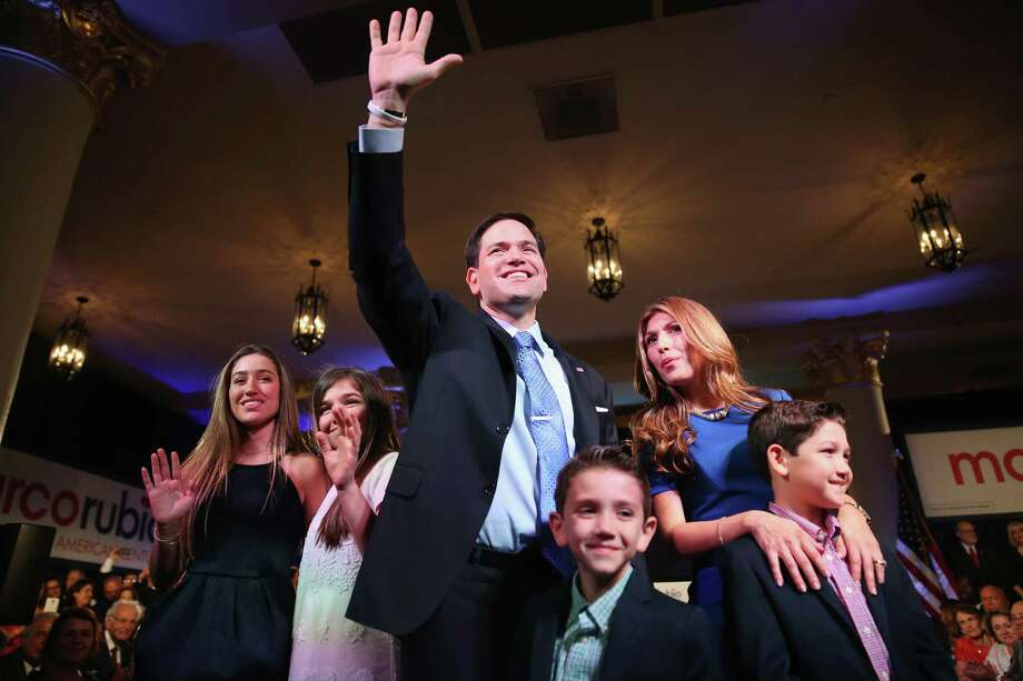 "U.S. Sen. Marco Rubio, R-Fla., shown with his family after announcing his candidacy, said, ""The time has come for our generation to lead the way toward a new American century."" Photo: Joe Raedle /Getty Images / 2015 Getty Images"