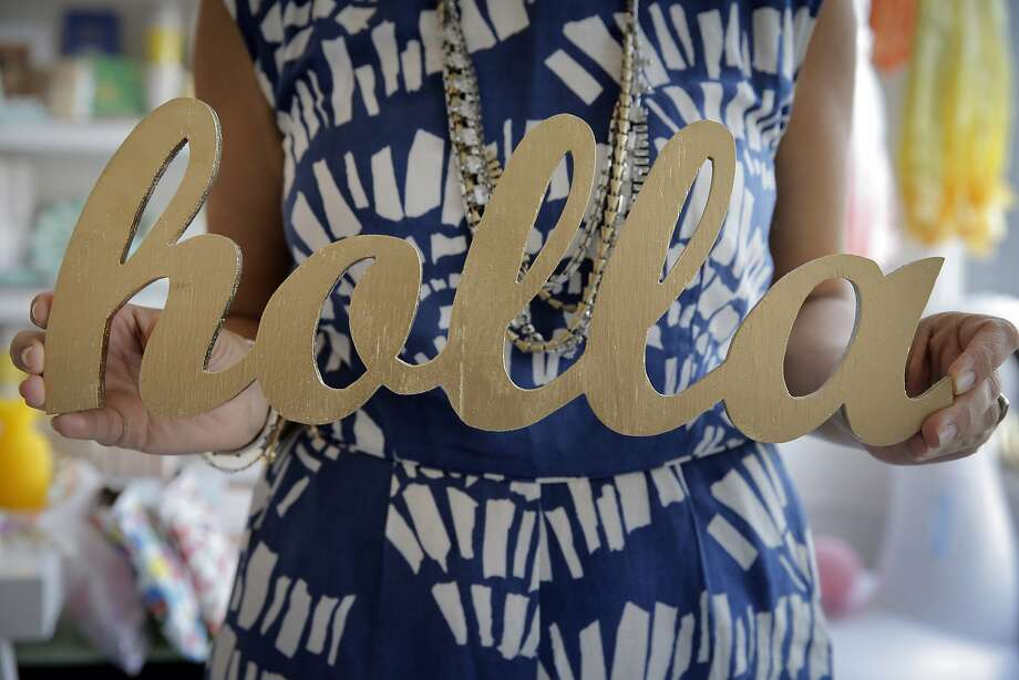 """""""Holla"""" sign by a local artist available at Pippa and Co. in Alameda. Photo: Carlos Avila Gonzalez, The Chronicle"""