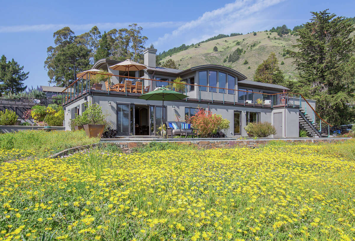 Wildflowers and tree-studded hills flank the Stinson Beach home built in 2007. Click here to see what else is currently on the market in the North Bay.