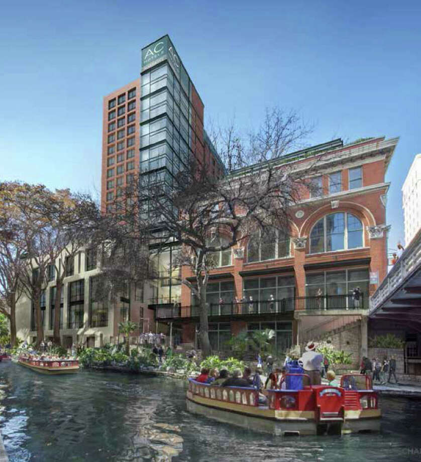 A 252-room AC Hotel by Marriott is being introduced for much of the River Walk block between Houston and Commerce streets. San Antonio's hospitality sector is sizzling. Photo: Courtesy Woodbine Development