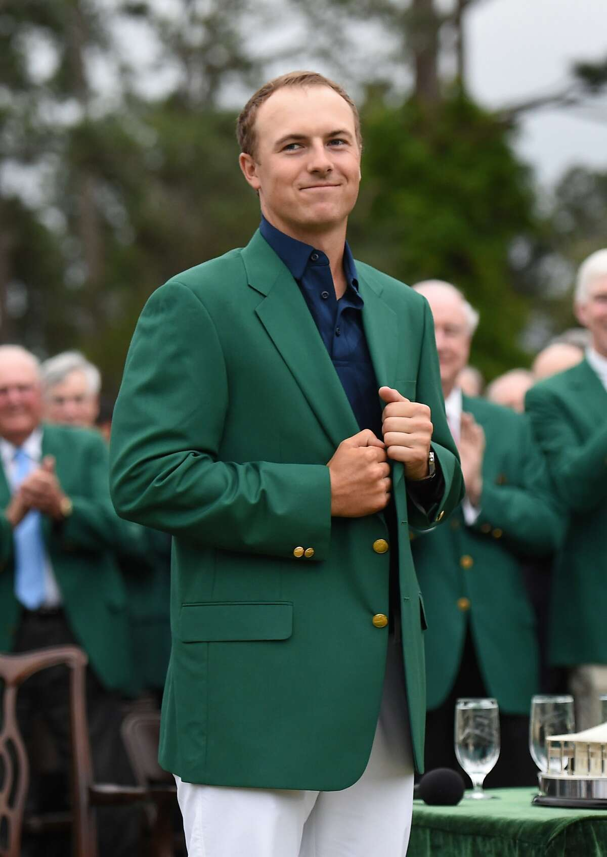 Jordan Spieth dons the Green Jacket as the 2015 Masters Champion at the 79th Masters Golf Tournament. Click to see his new Dallas home.
