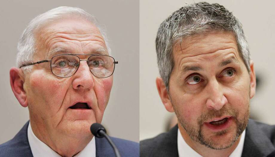 Quality Egg owner Jack DeCoster, left, and his son, Peter, are shown testifying in 2010. They were sentenced Monday in a salmonella case. Photo: Manuel Balce Ceneta, STF / AP