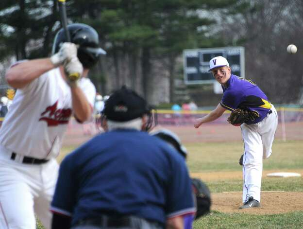 Voorheesville pitcher Zach Childs throws the ball during a baseball game against Albany Academy at Albany Academy on Monday, April 13, 2015 in Albany, N.Y. (Lori Van Buren / Times Union) Photo: Lori Van Buren / 00031406A