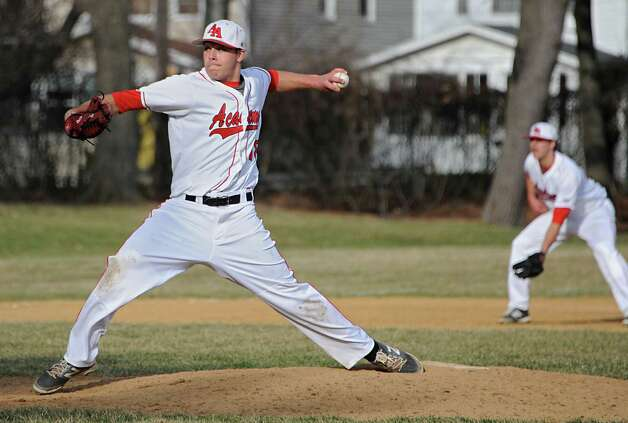 Albany Academy pitcher Brooks Knapek throws the ball during a baseball game against Voorheesville at Albany Academy on Monday, April 13, 2015 in Albany, N.Y. (Lori Van Buren / Times Union) Photo: Lori Van Buren / 00031406A
