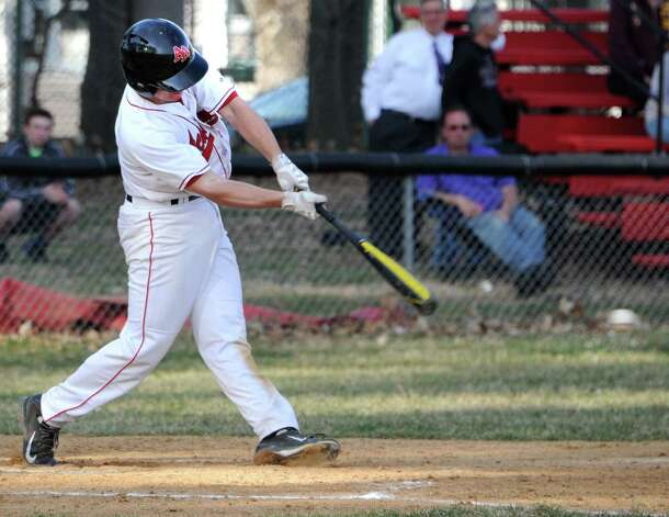 Albany Academy's Trevor Francesconi gets a single with this hit during a baseball game against Voorheesville at Albany Academy on Monday, April 13, 2015 in Albany, N.Y. (Lori Van Buren / Times Union) Photo: Lori Van Buren / 00031406A