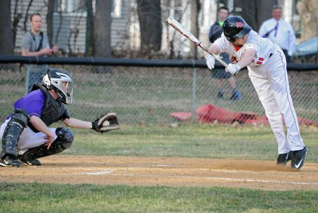 Albany Academy's Mike Whalen avoids an inside pitch but ends up sticking out looking during a baseball game against Voorheesville at Albany Academy on Monday, April 13, 2015 in Albany, N.Y. (Lori Van Buren / Times Union) Photo: Lori Van Buren / 00031406A
