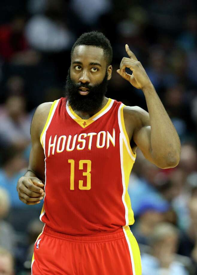 James Harden indicates the number of players in NBA history who can say they have made 200 3-pointers and 700 free throws in a season, with Harden reaching the free-throw plateau Monday night after previously surpassing the 3-point total. Photo: Streeter Lecka, Staff / 2015 Getty Images